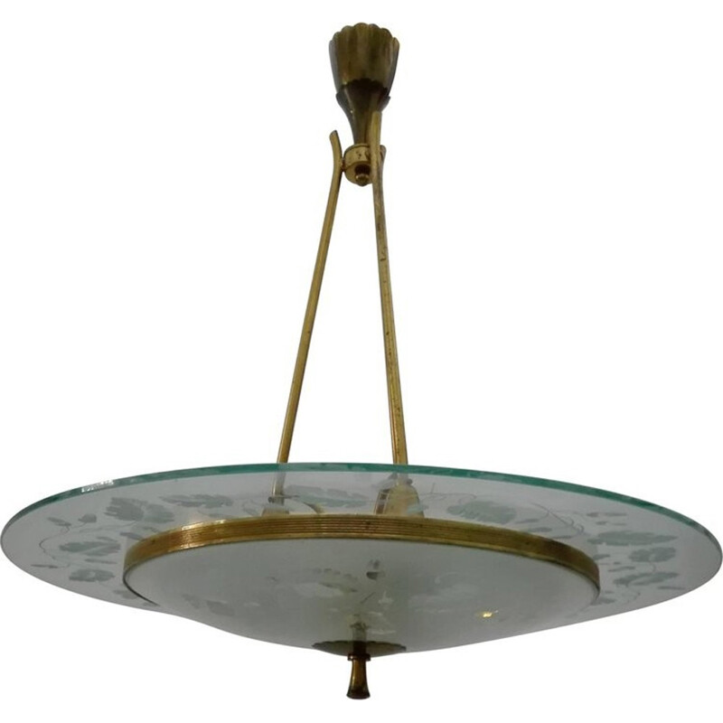 Vintage brass and glass chandelier by Pietro Chiesa for Fontana Arte - 1940s