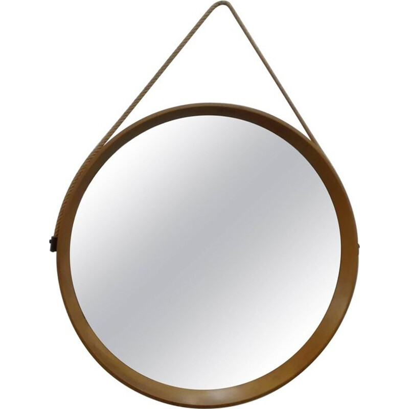 Vintage Scandinavian Circular Wall Mirror by Uno & Östen Kristiansson for Luxus - 1960s