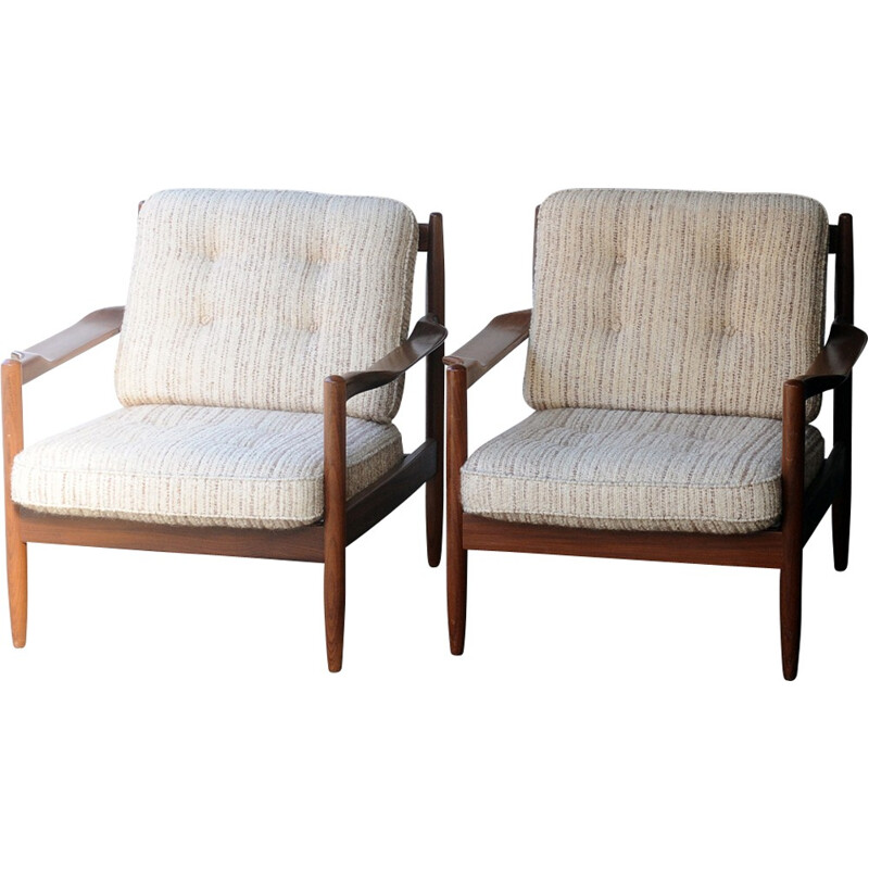 Set of 2 Scandinavian teak armchairs - 1960s