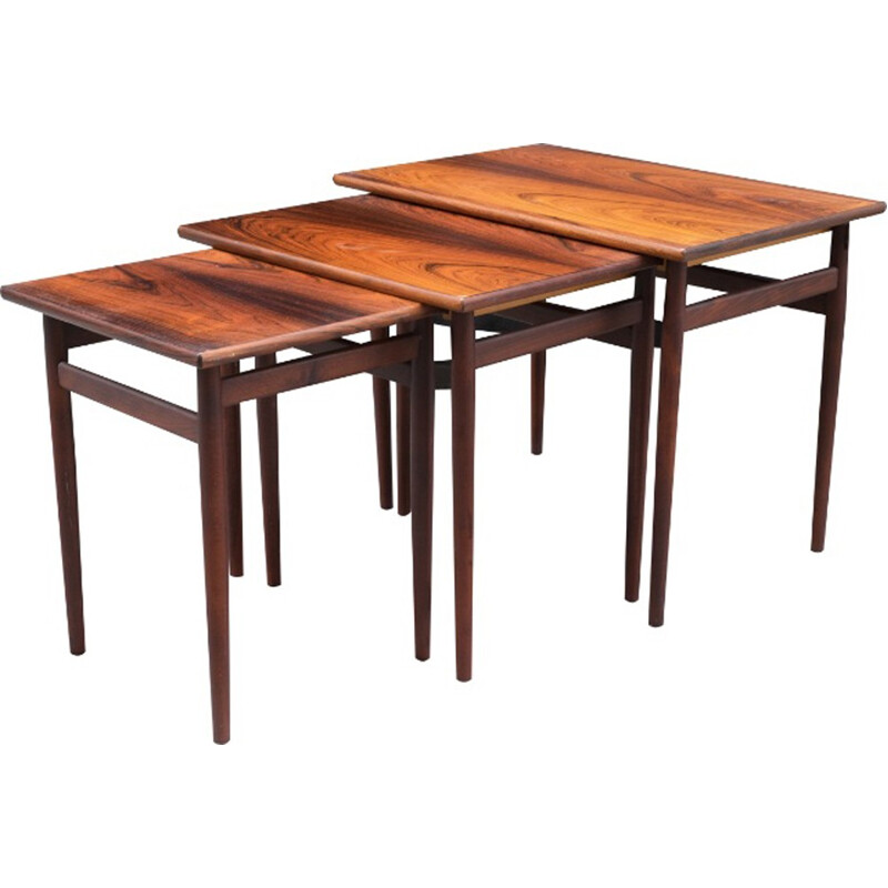 Set of 3 Rosewood trundle coffee tables - 1970s