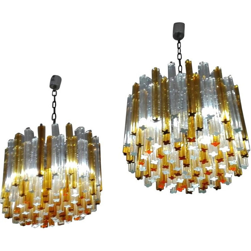 Pair of Vintage Italian Chandeliers by Venini - 1960s