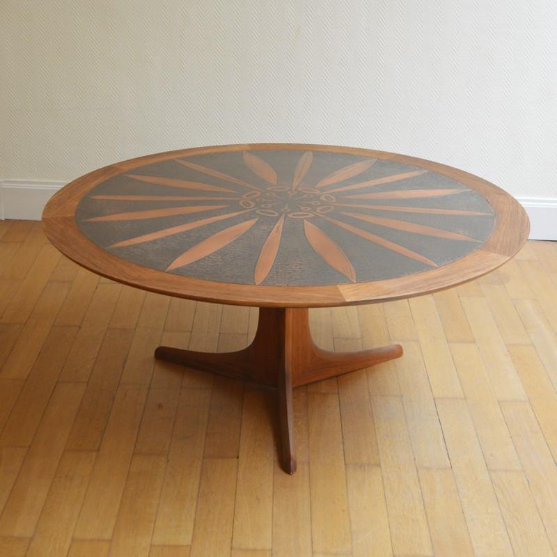Large round teak coffee table by Ico & Louisa Parisi ...