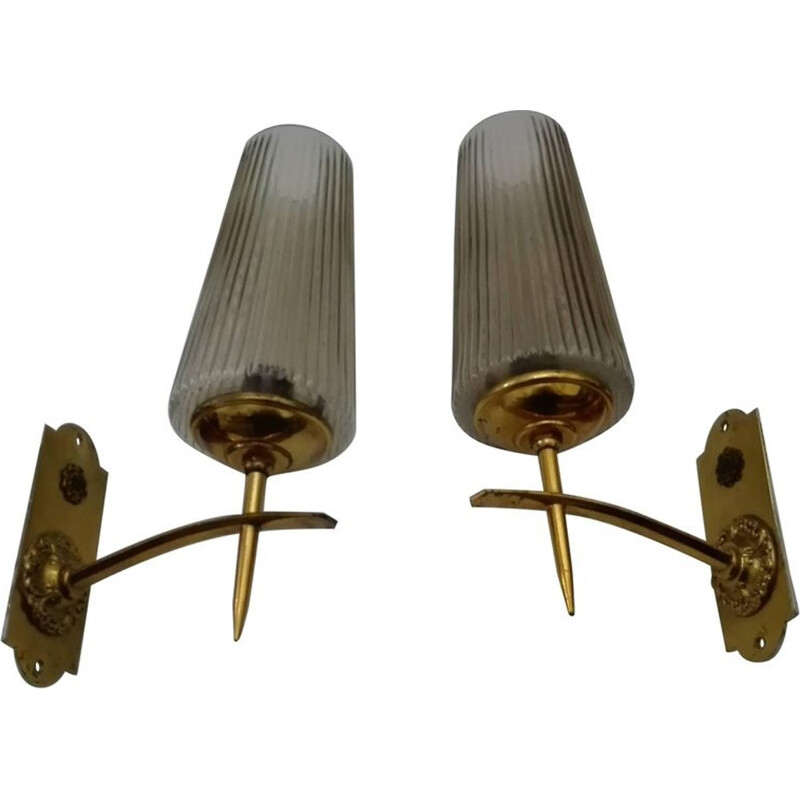 Vintage pair of brass and murano sconces - 1950s