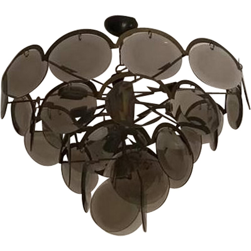 Vintage chandelier with 5 levels in chromed metal and smoke glass by Vistosi, Italy - 1970s