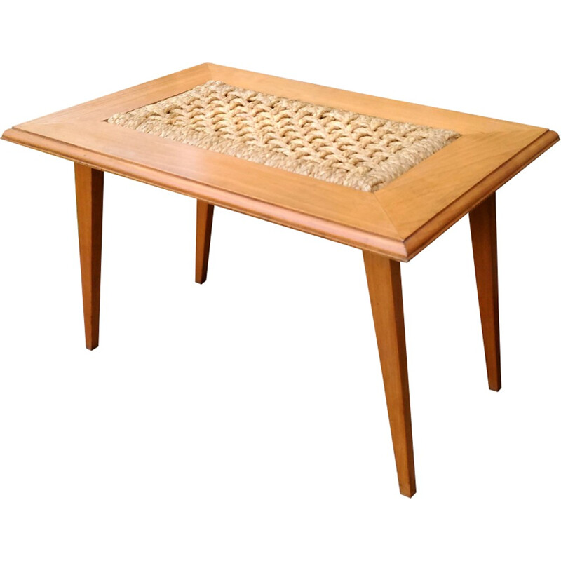 Vintage solid beech coffee table by Adrien Audoux & Frida Minet for Vibo - 1950s