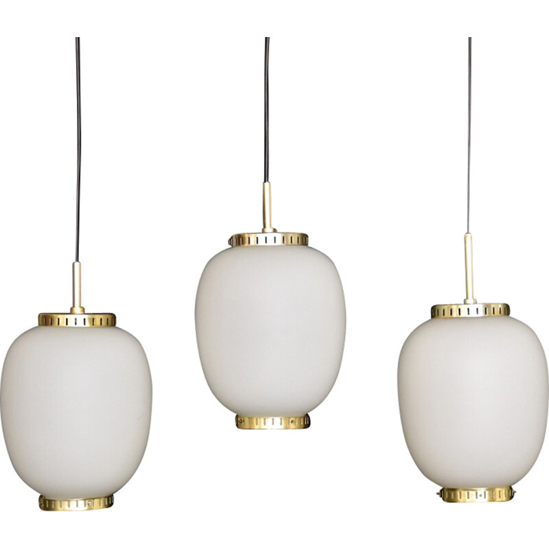 Vintage Kina pendant lamp in glass by Bent Karlby for Lyfa - 1950s
