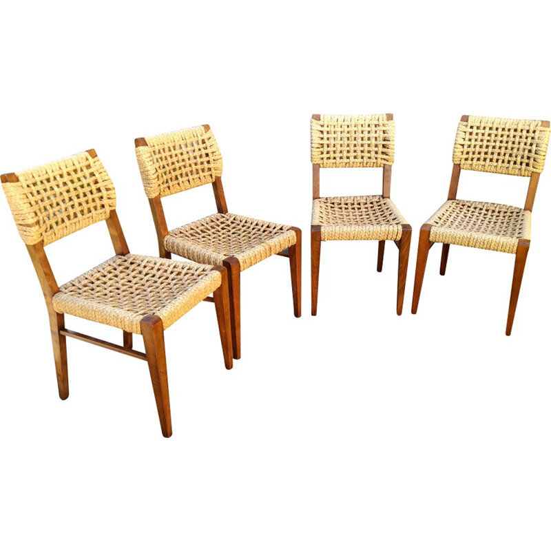 Vintage set of 4 beech chairs by Adrien Audoux & Frida Minet for Vibo - 1950s