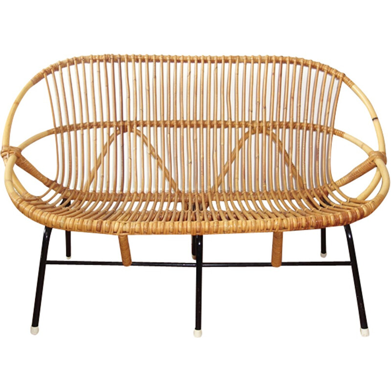 Vintage Rattan bench by Rohe Noordwolde - 1950s