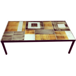 Coffee table in metal and ceramic, Roger CAPRON - 1950s