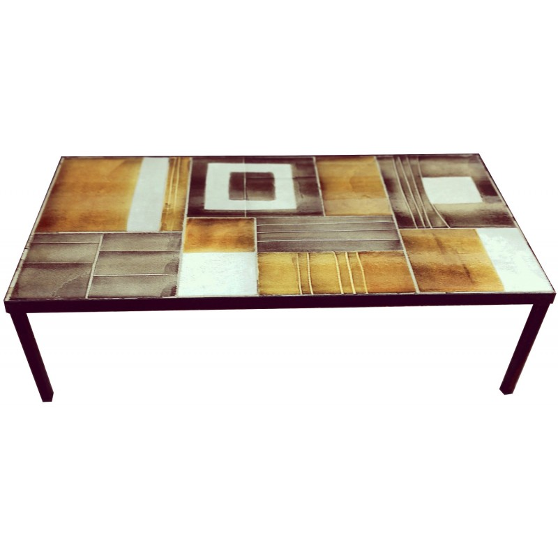 Coffee Table In Metal And Ceramic Roger Capron 1950s Design