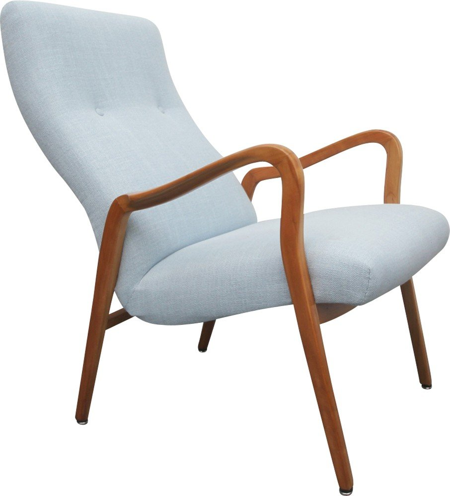 Vintage cherrywood light blue armchair - 1950s - Design Market