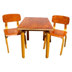 Mid century modern desk and two children's chairs - 1950s
