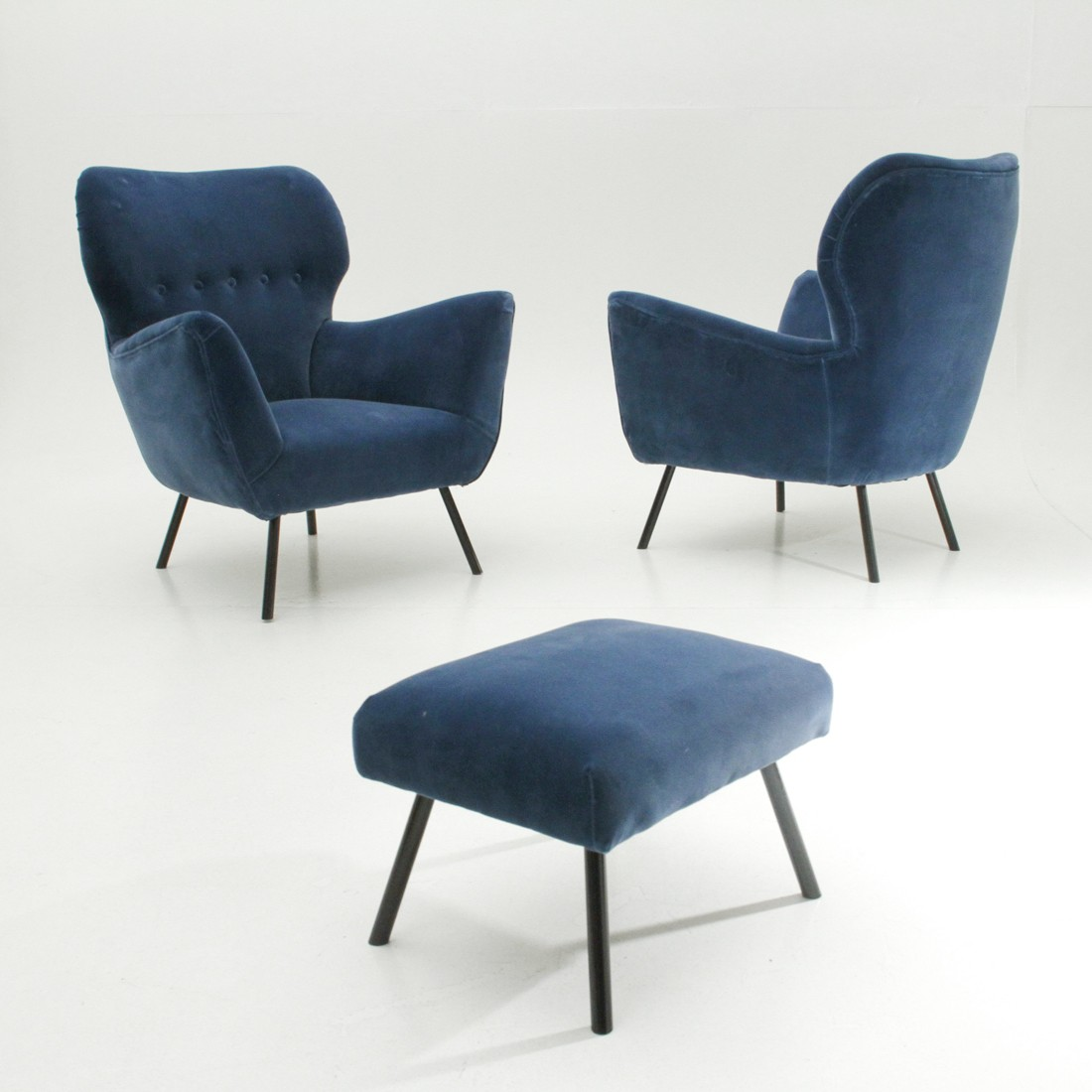 Pair of vintage Italian armchairs with ottoman - 1950s ...