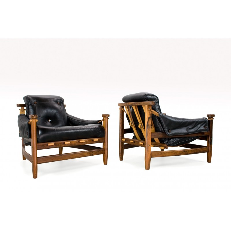 Tremendous Pair Of Brazilian Rosewood And Leather Lounge Chairs By Jean Gillon For Wood Art Brazil 1960S Ibusinesslaw Wood Chair Design Ideas Ibusinesslaworg