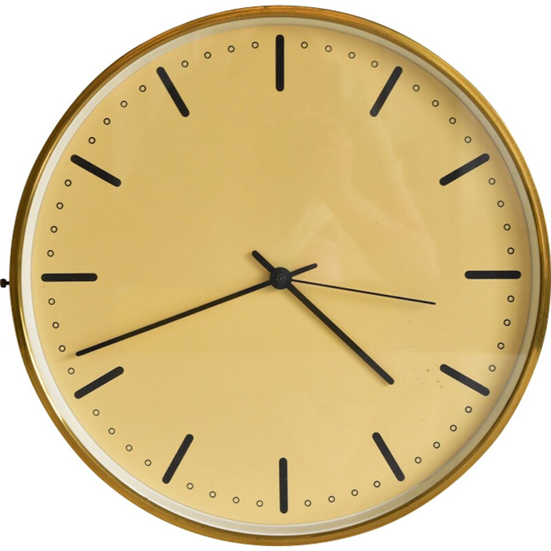 Vintage XL City Hall wall clock Made of brass by Arne Jacobsen - 1950s