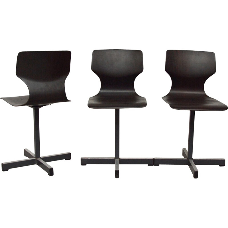 """Set of 3 cockpit chairs """"Pagholz"""" by Adam Stegner for Flötotto - 1970s"""