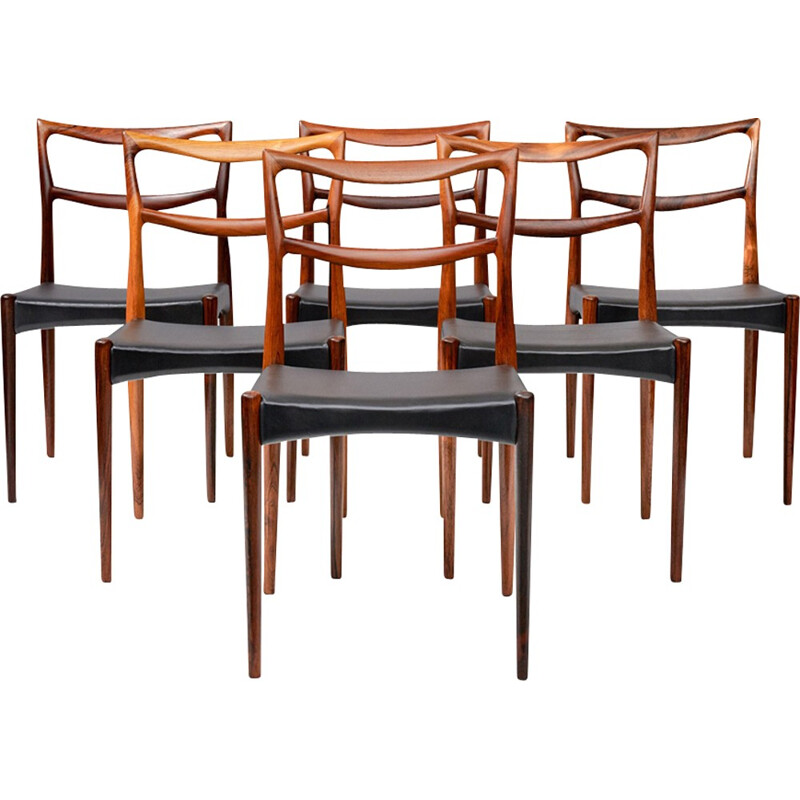 Vintage set of 6 rosewood dining chairs by Johannes Andersen for Christian Linnerberg - 1960s