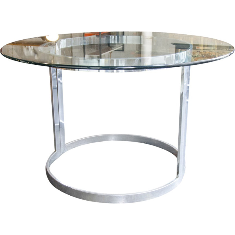 Chrome Dining Table with Glass Top by Milo Baughman - 1970s