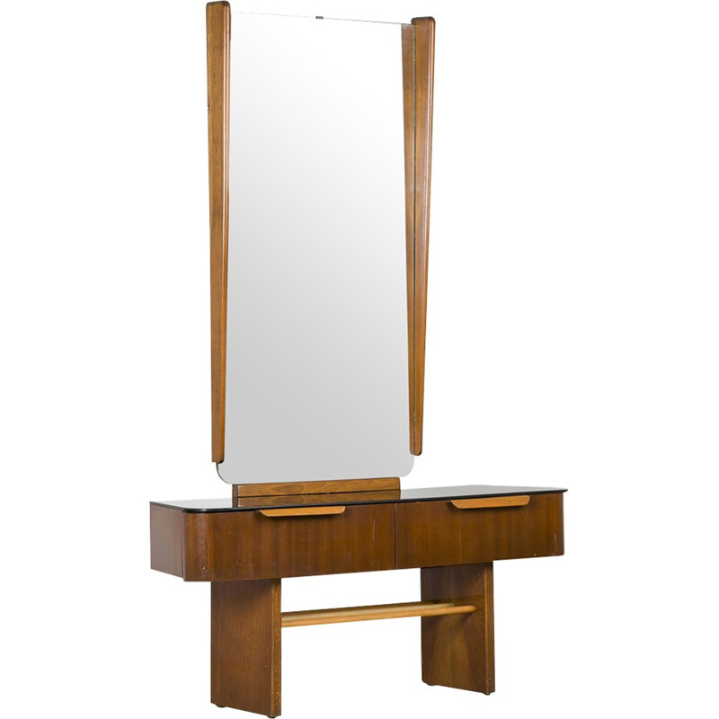 Dressing table with large mirror by Jindřich Halabala - 1950s