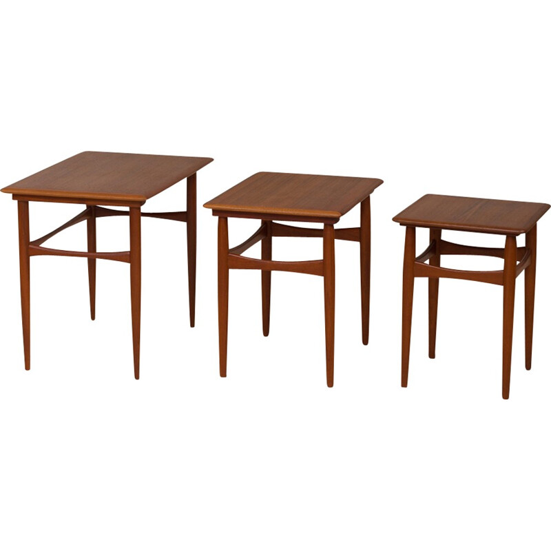 Set of 3 vintage scandinavian nesting tables - 1960s