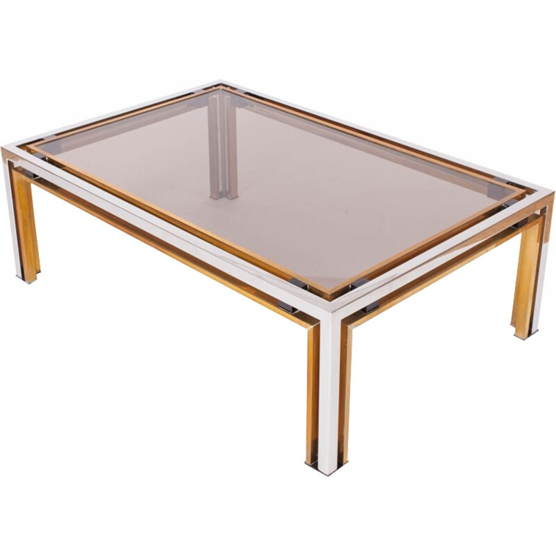 Vintage rectangular coffee Table by Romeo Rega - 1970s