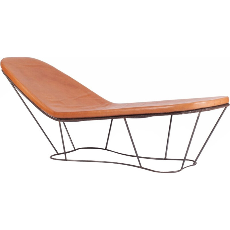 Lounge Chair in Steel And Cognac Leather by Xavier Lust - 2000s