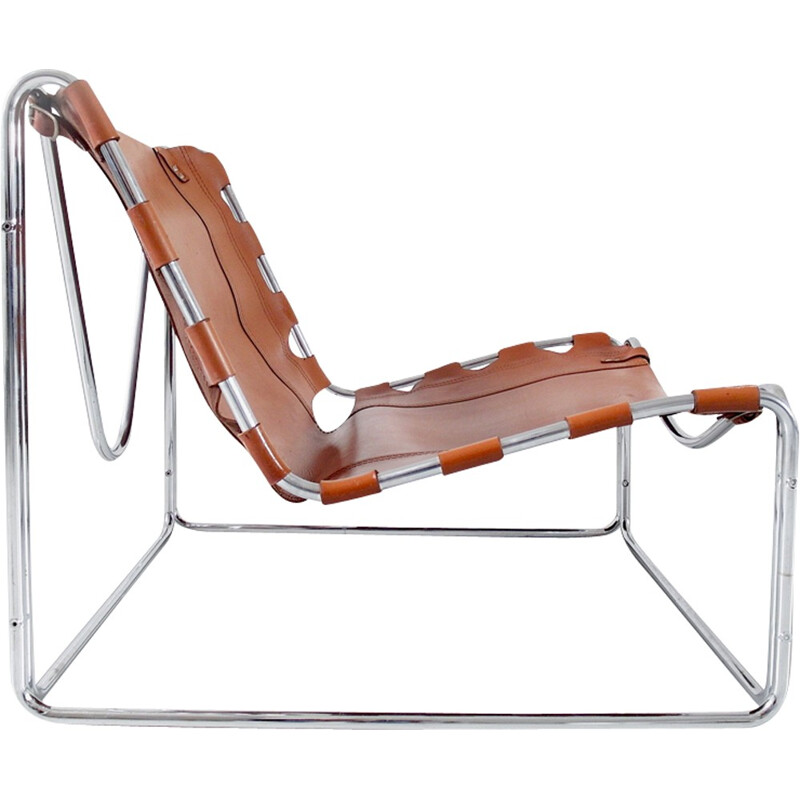 """Fabio"" lounge chair in cognac leather by Pascal Mourgue for Sedia-Steiner - 1970s"