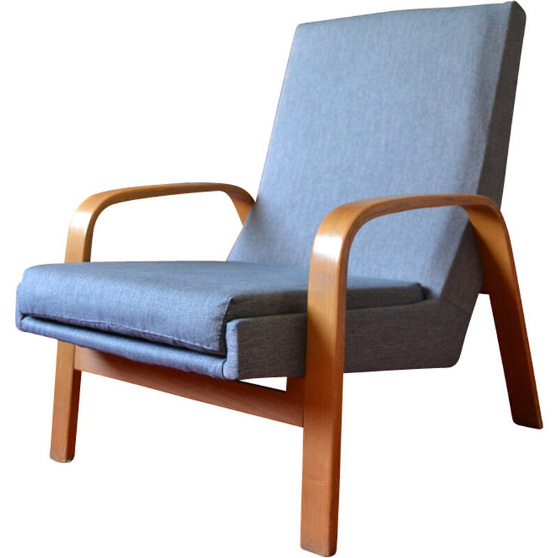 Vintage armchair Steiner by ARP curved wood - 1950s