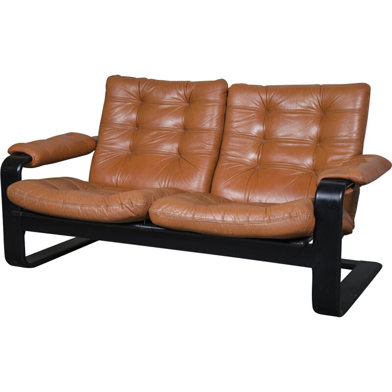 Vintage 2-seater leather sofa by Lystolet, Sweden - 1970s