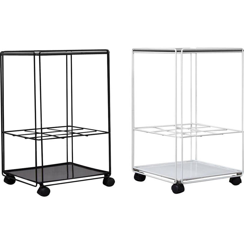 Vintage Set of 2 Black and White Isocele Trolleys by Max Sauze - 1970s