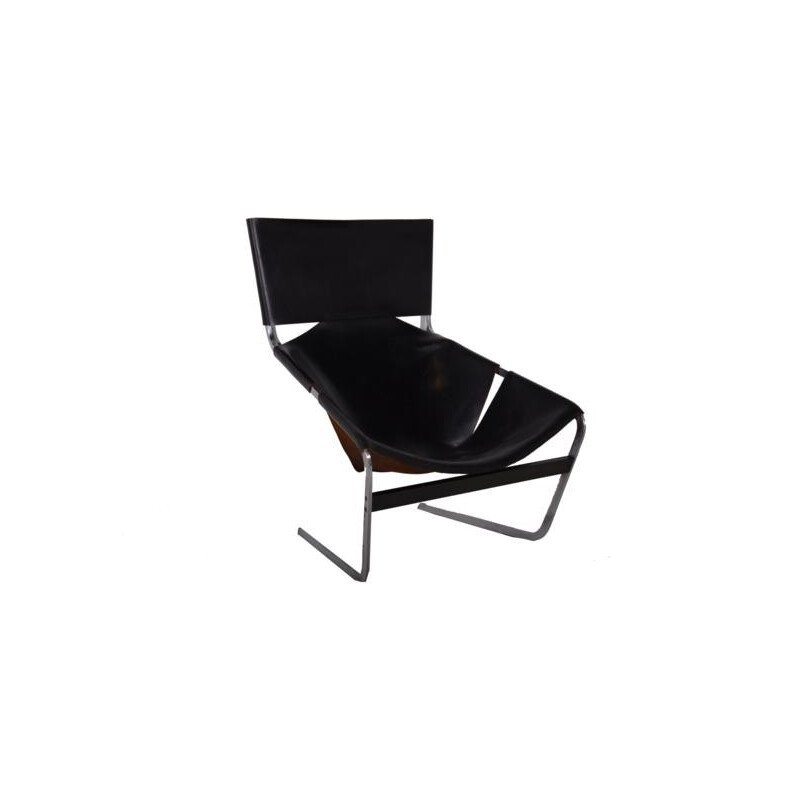 Armchair 444 in black leather and chrome, Pierre PAULIN - 1960s