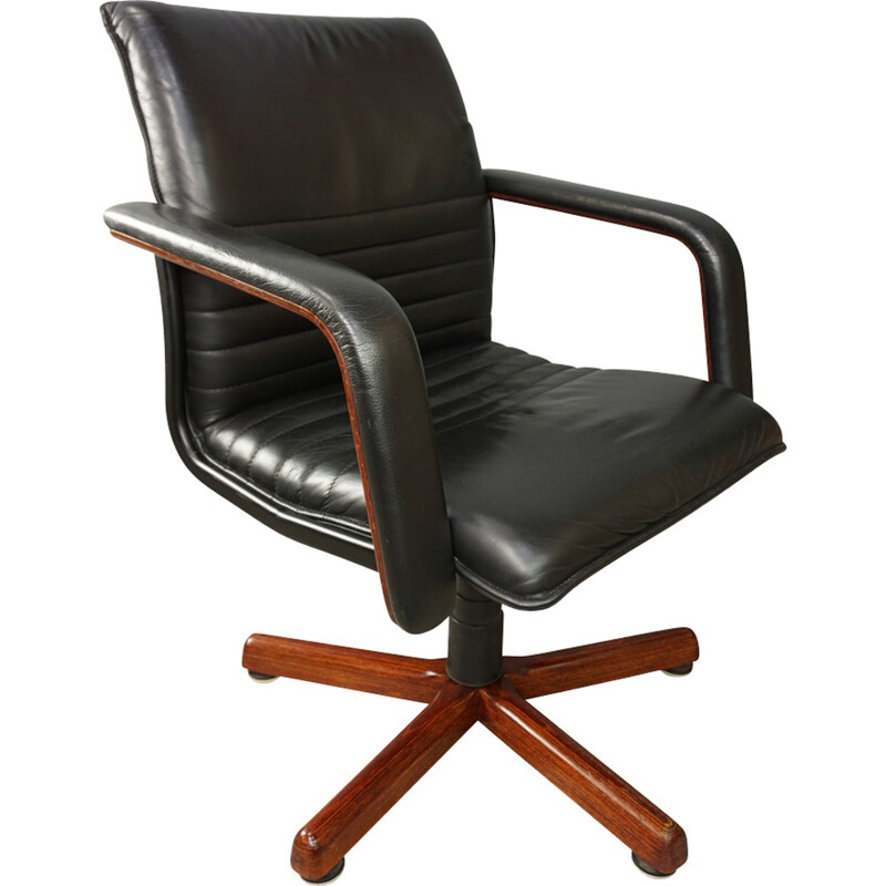 vintage office chair. Vintage Swivel Office Chair In Wood And Leather - 1960s