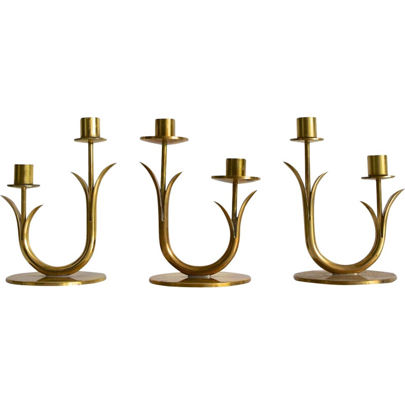 Vintage Swedish brass candle holders by Gunnar Ander for Ystad Metall - 1960s