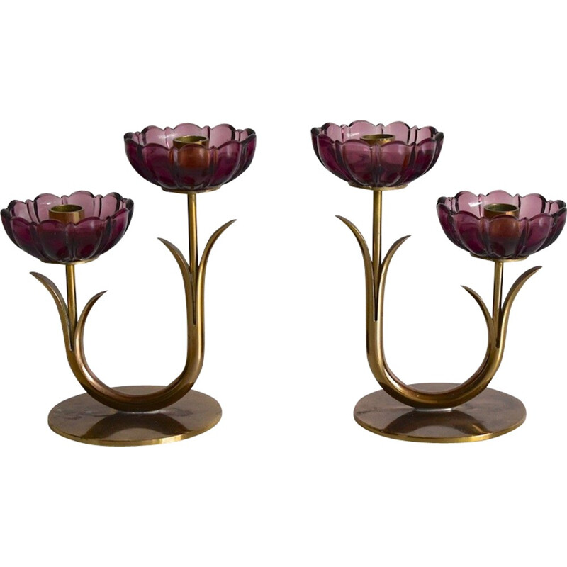 Viintage Swedish candle holders in brass by Gunnar Ander Ystad - 1960s