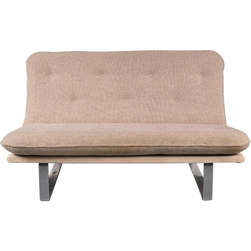 Vintage beige two-seater sofa by Koh Liang Le for Artifort - 1960s