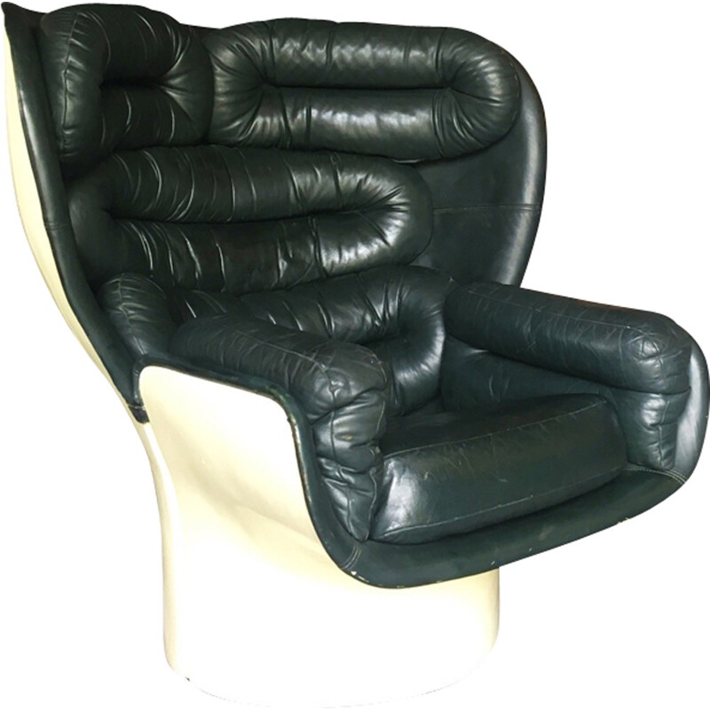 """Elda"" Armchair in dark green leather, Joe Colombo for Comfort - 1960s"