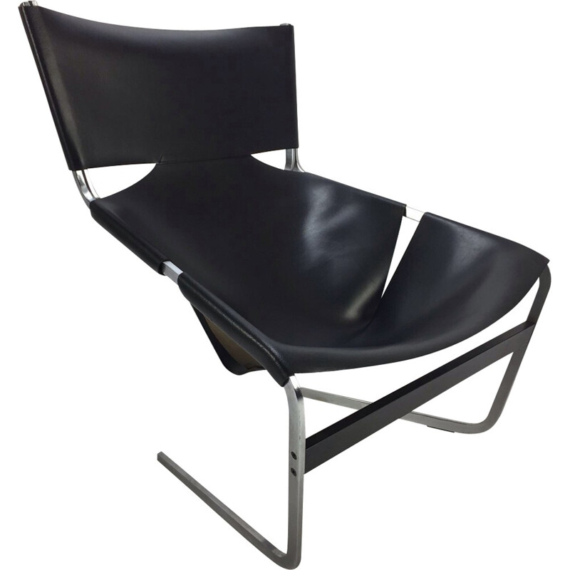 Vintage F444 Black Lounge Chair by Pierre Paulin for Artifort - 1960s