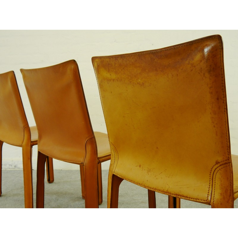 Awesome Set Of 4 Cab Chairs In Leather Mario Bellini 1970S Ocoug Best Dining Table And Chair Ideas Images Ocougorg
