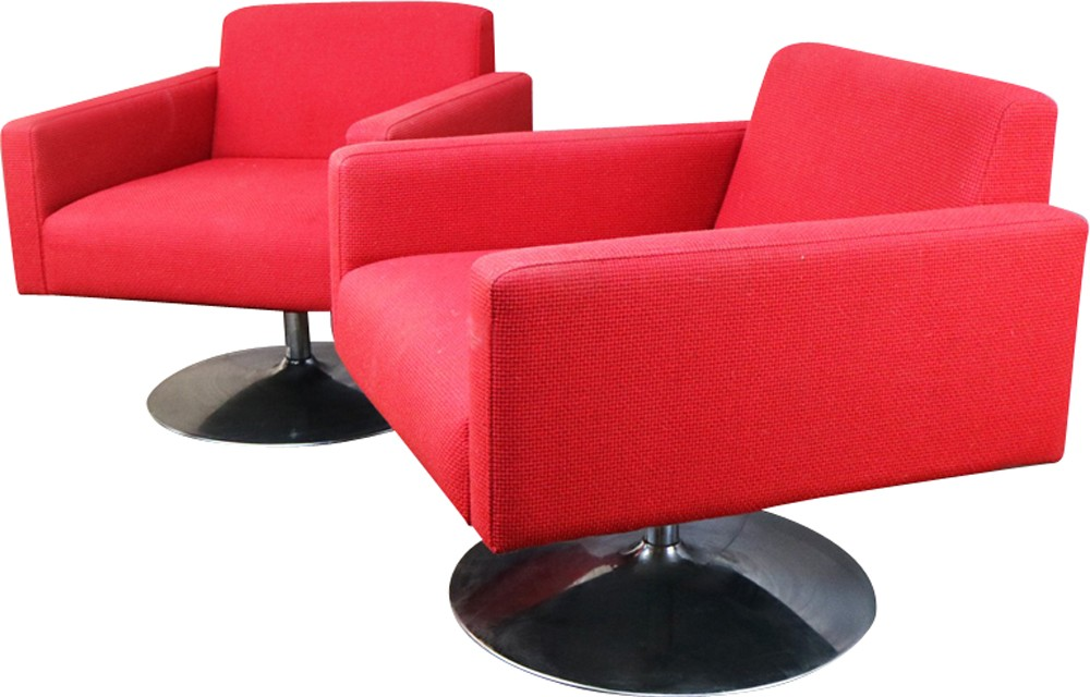 Vintage pair of bright red swivel armchairs - 1970s ...
