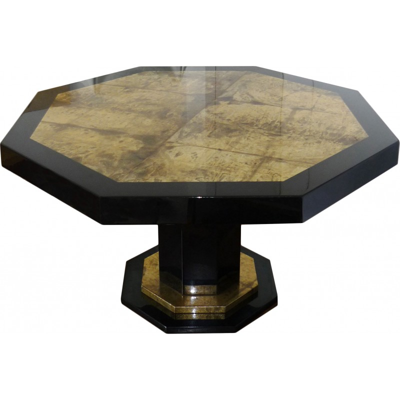 Vintage Dining table golden and black lacquered, Jean Claude MAHEY - 1970s