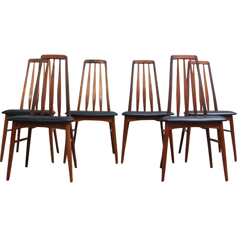 "Set of 6 ""Eva"" Dining Chairs by Niels Kofoed for Koefoeds Mobelfabrik - 1960s"