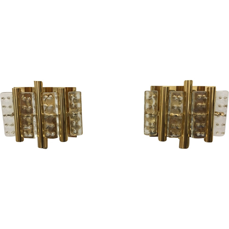 Vintage pair of brass and glass wall lamps by Carl Fagerlund for Lyfa - 1960s