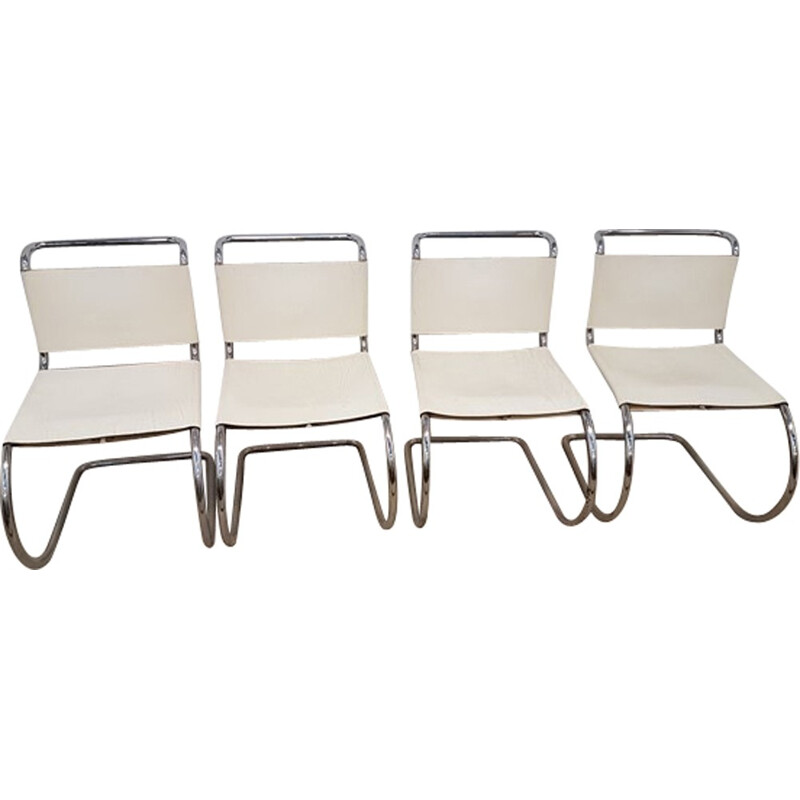 Set of 4 chairs MR10 in white leather by Mies Van Der Rohe edited by Knoll international - 1980s