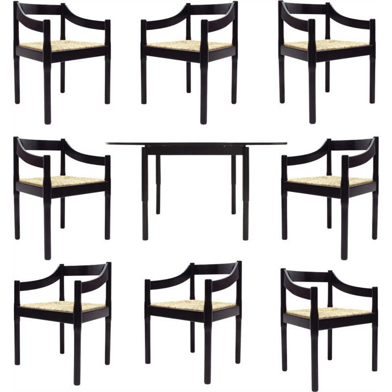 """Set of Italian table and amrchairs """"Carimate"""" by Vico Magistretti for Cassina - 1960s"""