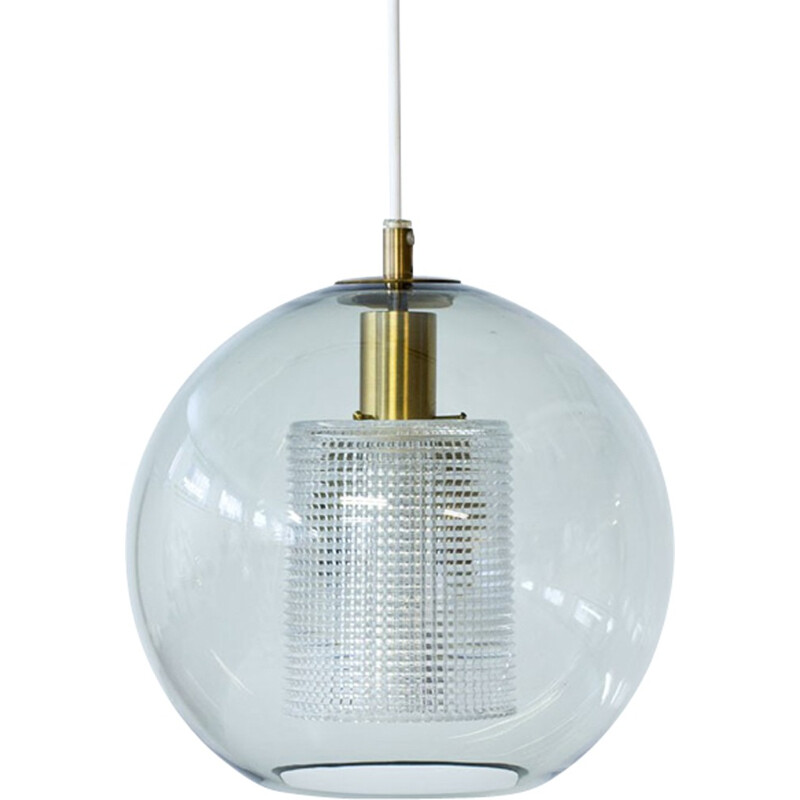 Vintage Glass & Brass Pendant Lamp by Carl Fagerlund for Orrefors - 1960s