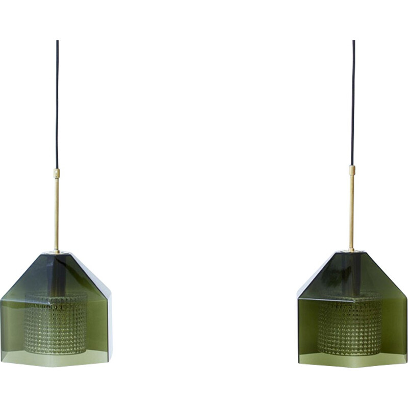 Pair of Vintage Pendants lamps by Carl Fagerlund for Orrefors - 1960s