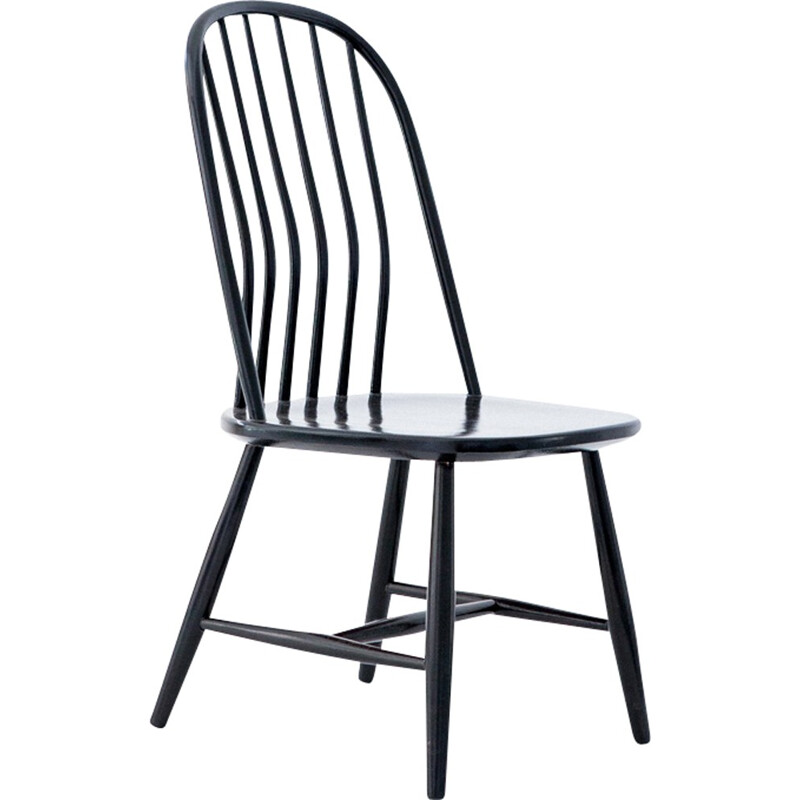 Set of 6 Swedish Dining Chairs in Black Wood by Bengt Akerblom and G. Eklöf - 1950s