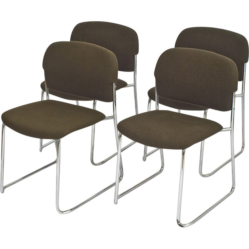Set of 4 Vintage black fabric chairs - 1970s