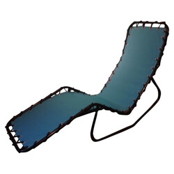 Chaise longue in metal and blue fabric - 1950s