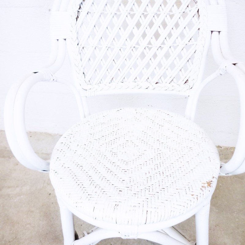 Vintage white wicker rattan armchair - 1980s - Design Market